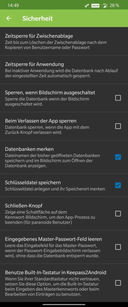 KeePass2Android Settings 1