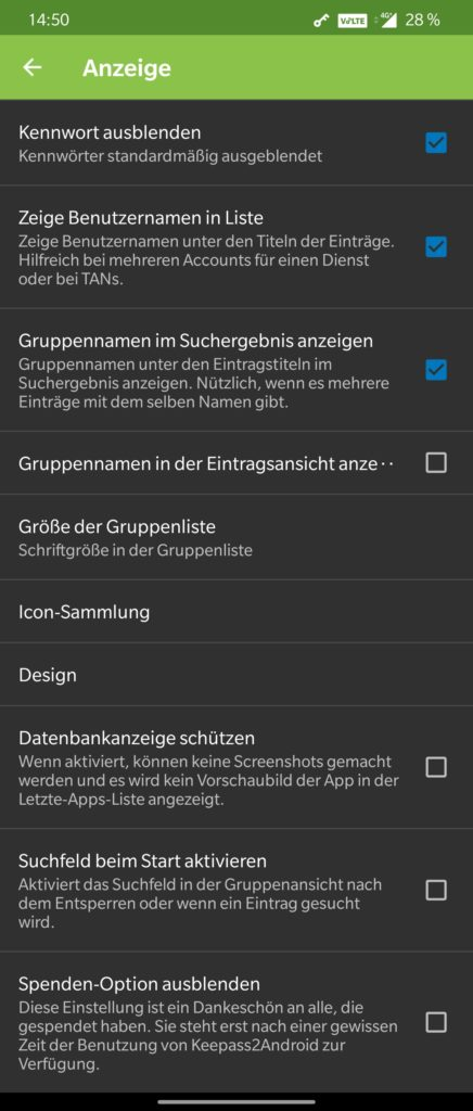 KeePass2Android Settings 2