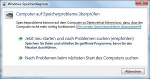 Windows-Speicherdiagnose